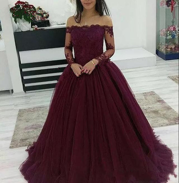 Burgundy Prom Dresses Off The Shoulder Lace Applique Long Sleeves Tulle Evening Dress
