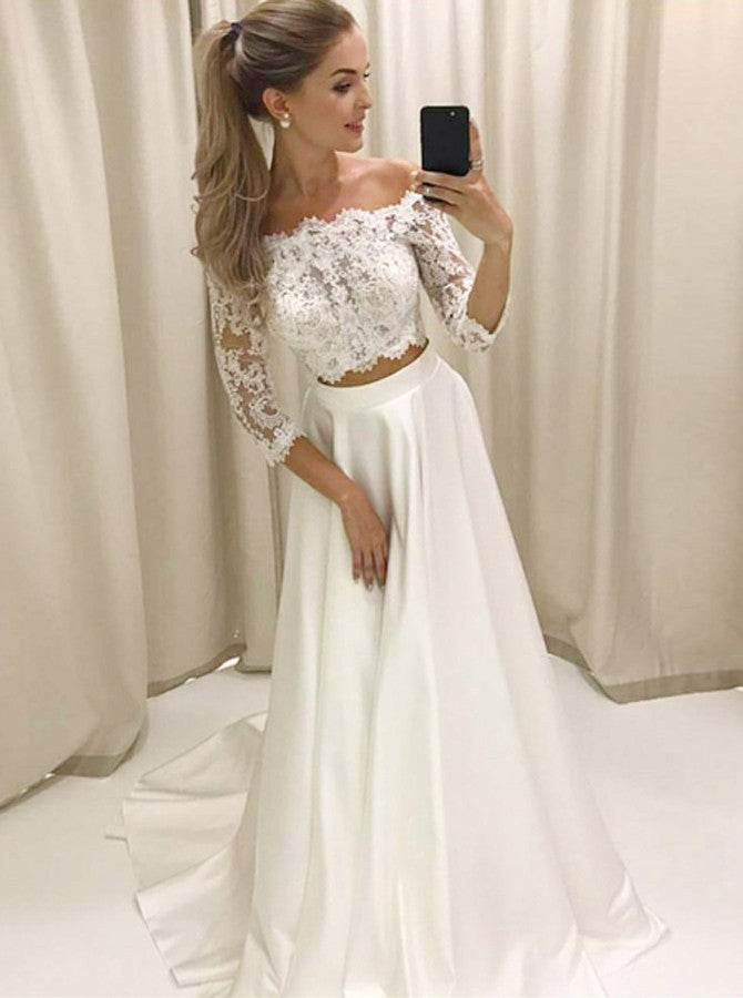 6ed8532bad528 Two Piece Lace Off the Shoulder Satin Prom Dresses Long Sleeves White –  Hoprom