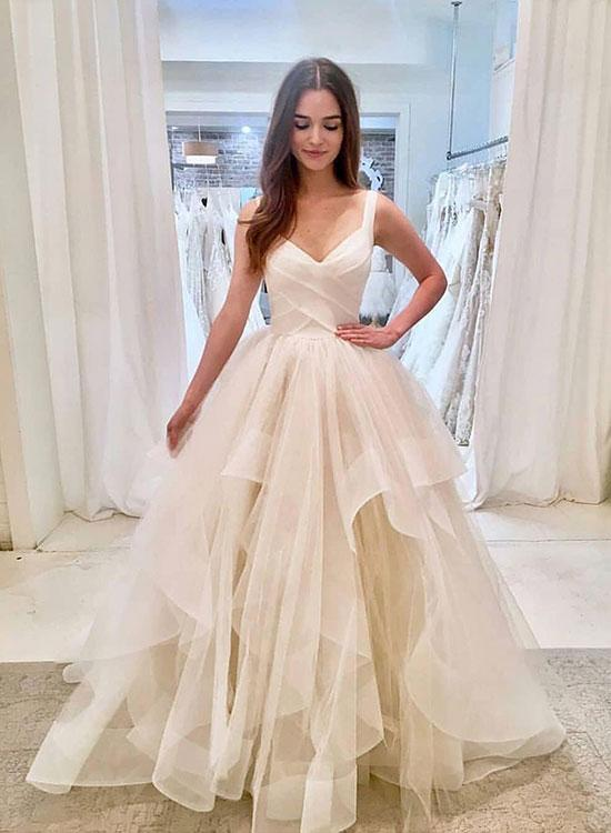 0ffd80eb603 White V Neck Tulle Long Prom Dresses Elegant Best Evening Dresses For –  Hoprom