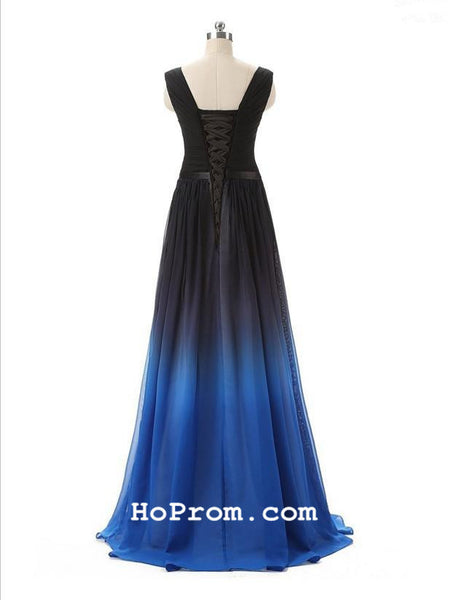 A Line Ombre Prom Dress Black Blue Ombre Prom Dresses Ombre Evening Dresses