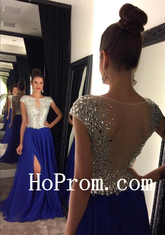 Short Sleeve Prom Dresses,Crystal Blue Prom Dress,Evening Dress