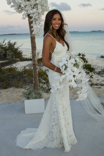 Lace Custom Size Bridal Wedding Dress, Spaghetti Straps Backless Beach Wedding Dresses