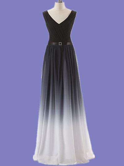 A Line Ombre Prom Dress,Black White Prom Dresses,Evening Dresses
