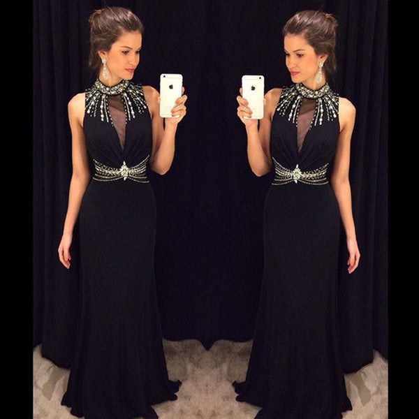 Black Prom Dresses,High Neck Prom Dress,Evening Dress