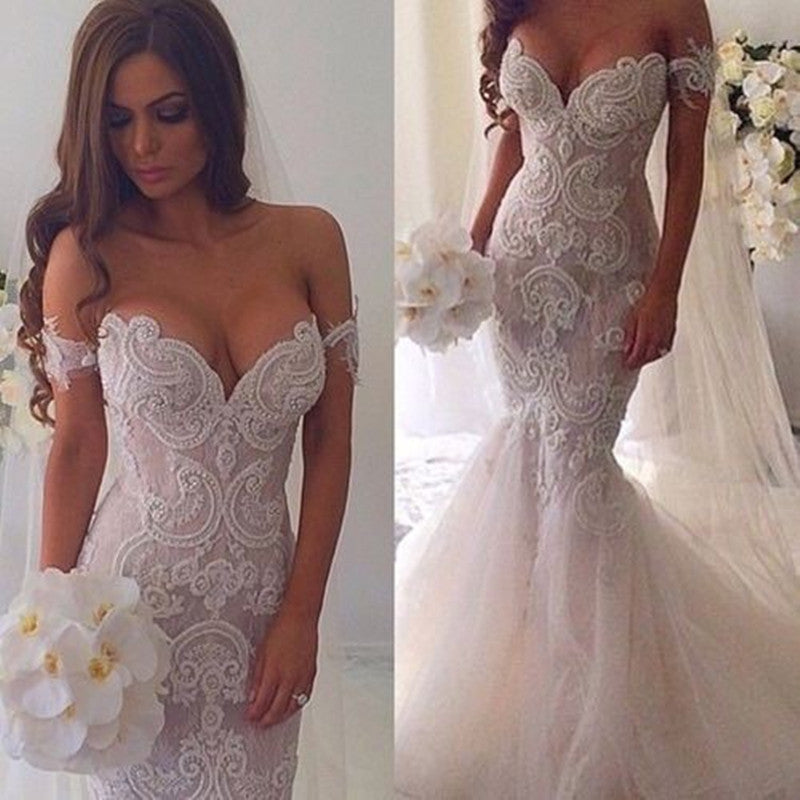 White Sweetheart Prom Dresses,Straps Lace Prom Dress,Evening Dress