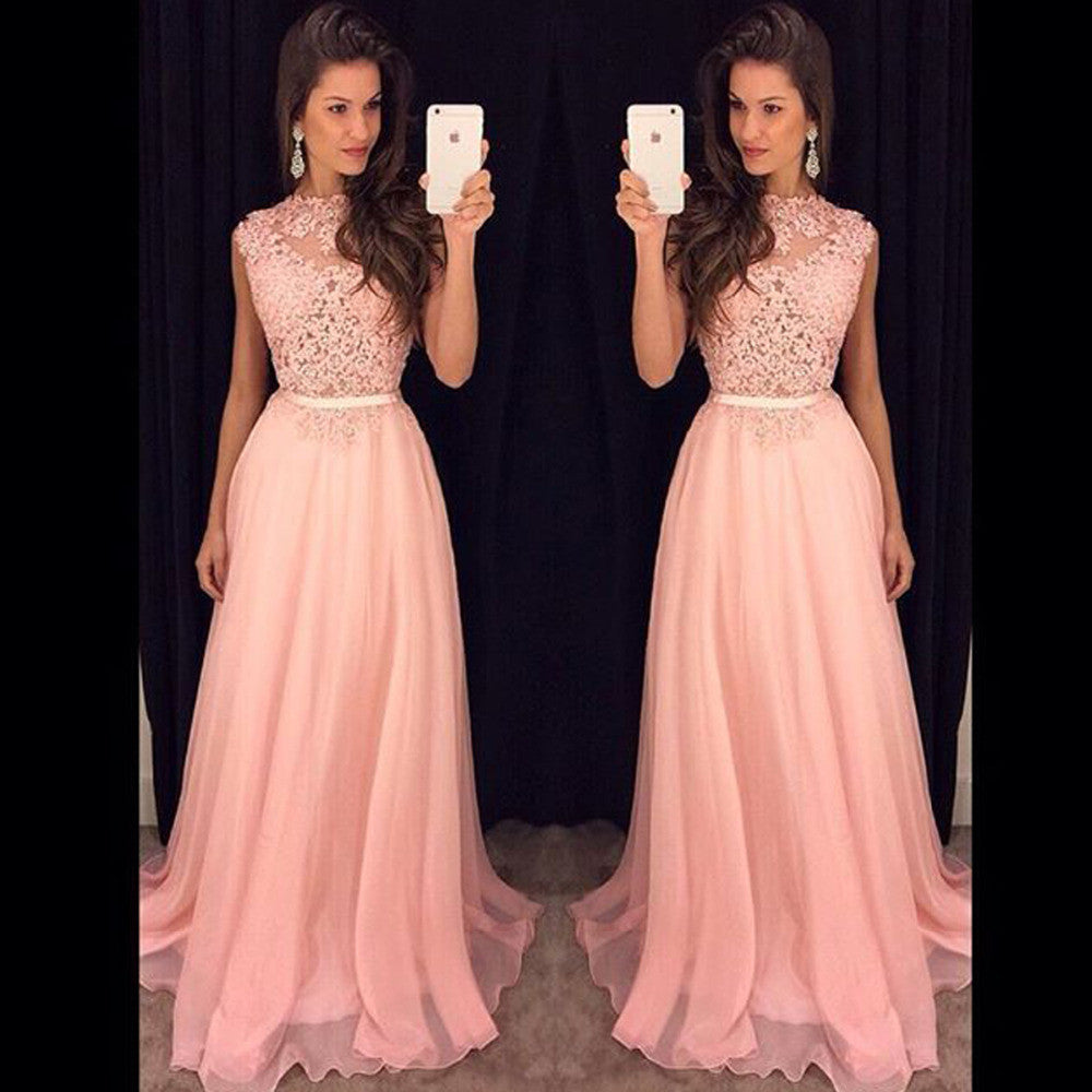 Pink Applique Prom Dresses,Sleeveless Prom Dress,Evening Dress