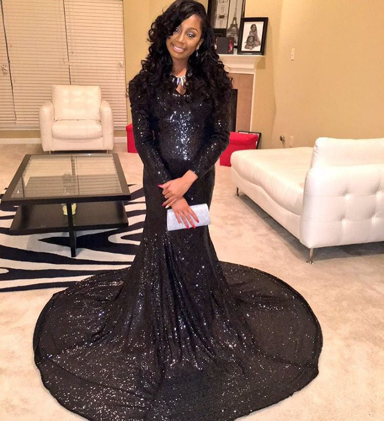 Black Sequin Prom Dresses,Sparkle Prom Dress,Evening Dress