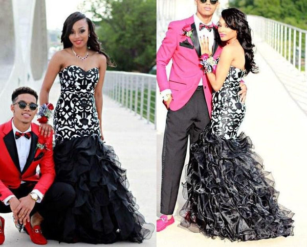 Black Prom Dresses,Applioque Prom Dress,Ruffles Evening Dress