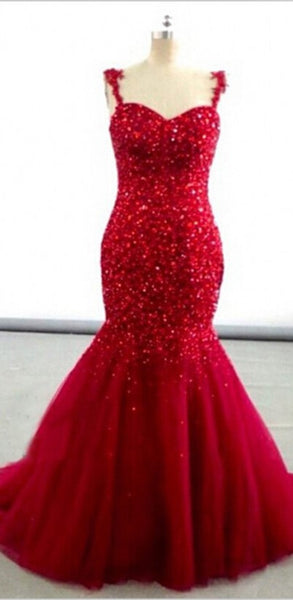 Red Prom Dresses,Mermaid Prom Dress,Straps Evening Dress