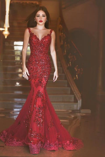 Red Straps Prom Dresses,Long Prom Dress,Beaded Evening Dress