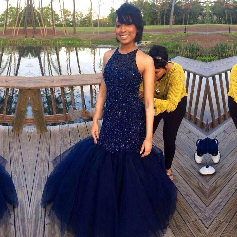 Mermaid Navy Blue Prom Dresses,Long Prom Dress,Evening Dress