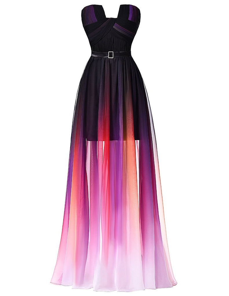 Gradient Ombre Long Prom Dresses,Strapless Prom Dress,Evening Dress