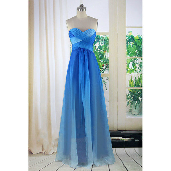 A Line Blue Prom Dresses,Ombre Prom Dress, Evening Dresses