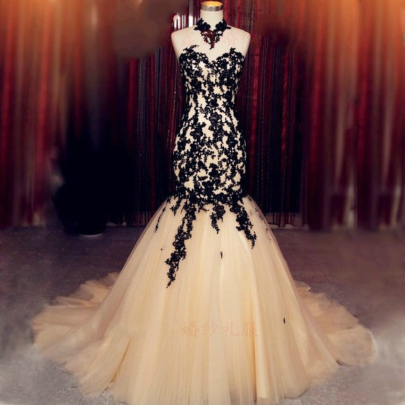 Mermaid Prom Dresses,Black Prom Dress,Applique Evening Dress