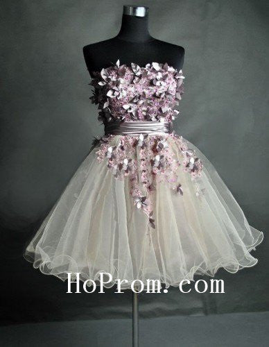 Beaded Short Prom Dresses,Strapless Prom Dress,Evening Dress