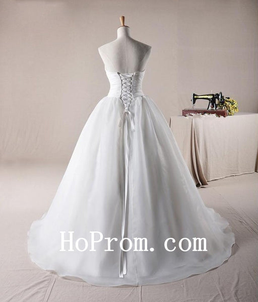 Elegant White Wedding Dresses,Floor Length Prom Dress,Evening Dress