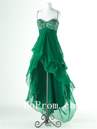 High Low Prom Dresses,Green Chiffon Prom Dress,Ruffles Evening Dress