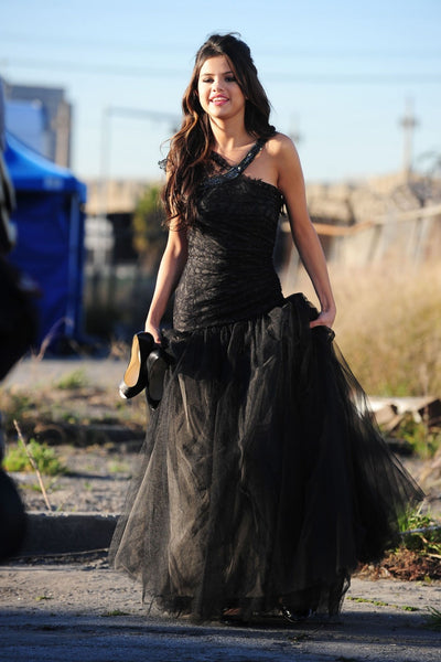 Black Selena Gomez Fit Flare Prom Celebrity Dress Who Says Video Ball Gown