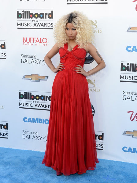 Red Nicki Minaj Sweetheart Sequins Beaded Dress Chiffon Gown Prom Celebrity Evening Dress Billboard Music Awards