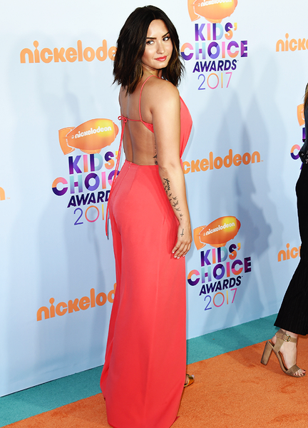 Red Demi Lovato Backless Side Cutouts Dress Double Slit Prom Red Carpet Formal Dress Kids' Choice Awards