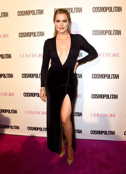 Black Khloe Kardashian Long Sleeve High Slit V Neck prom Red Carpet Dress Cosmopolitan's 50th Birthday Celebration