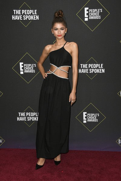 Black Zendaya Criss Cross One shoulder Dress Sequins Prom Red Carpet Celebrity Dress Gown E! People's Choice Awards