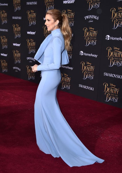 Blue Celine Dion Long Sleeve High Neck Prom Red Carpet Formal Dress Premiere of Beauty and the Beast