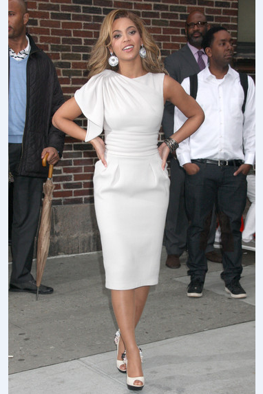 White Beyonce Knowles Asymmetrical knee Length Prom Celebrity Formal Dress Late Show with David Letterman Party Dress
