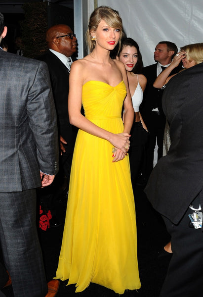 Yellow Taylor Swift Strapless Prom Red Carpet Evening Dress Golden Globes