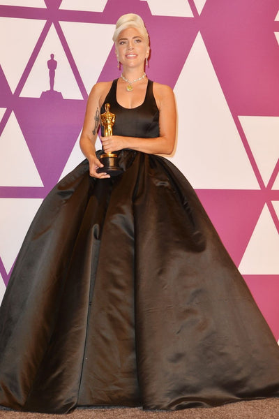 Black Lady Gaga Ball Gown Cut Out Dress Satin Prom Celebrity Formal Dress Oscars After Party