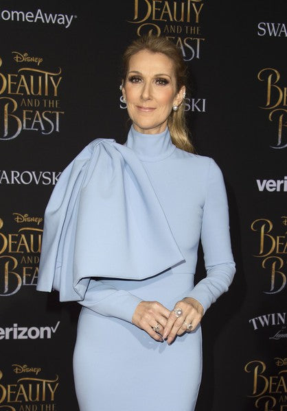 Blue Celine Dion Long Sleeve High Neck Prom Red Carpet Formal Dress Premiere of Disney's Beauty and the Beast