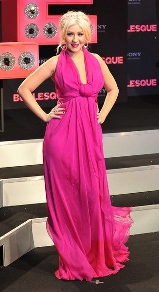 Rose Red Christina Aguilera Halter Chiffon Prom Celebrity Formal Dress Germany premiere of 'Burlesque Fuchsia