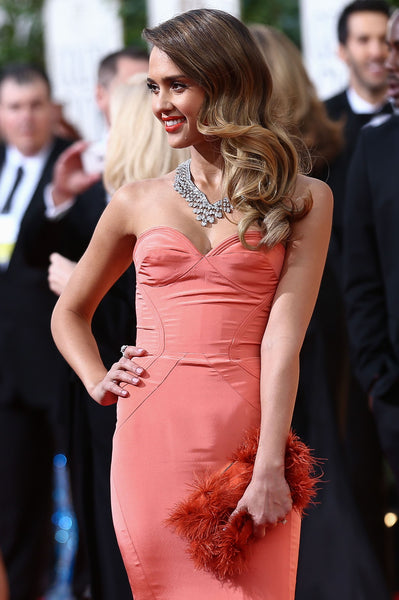 Pink Jessica Alba Mermaid Strapless Sweetheart Dress Gown Prom Red Carpet Evening Dress Golden Globe Awards Watermelon