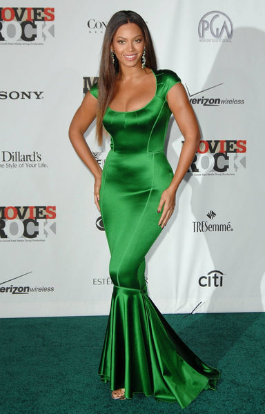 Green Beyonce Knowles Mermaid Dress Satin Gown Prom Celebrity Evening Dress Conde Nast Media Group's Movies Rock