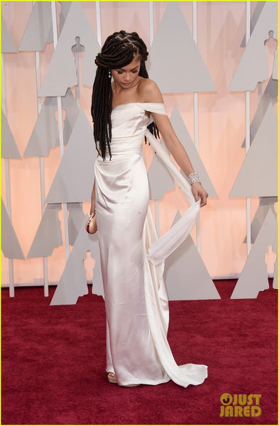 White Zendaya Coleman Off The Shoulder Sexy Dress Sleek Prom Red Carpet Evening Dress Oscar Awards Evening Gown For Juniors