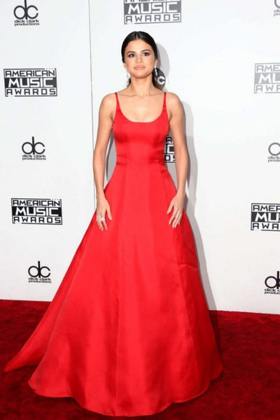 Red Selena Gomez Scoop Neck Dress Satin Prom Red Carpet Celebrity Dress American Music Awards