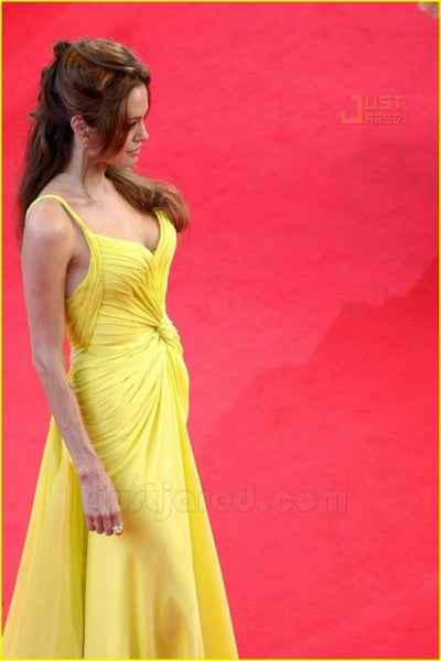Yellow Angelina Jolie Pretty Knot Dress V Neck Prom Celebrity Formal Gown Best Red Carpet Dress Cannes