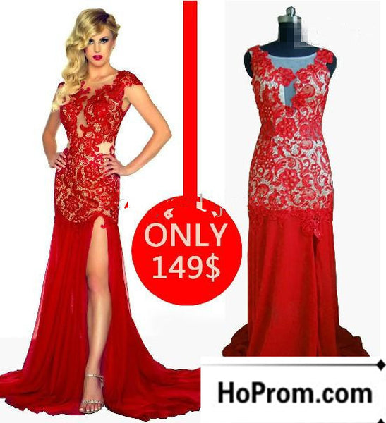 Red Lace Side Slit Long Prom Dress Evening Dresses