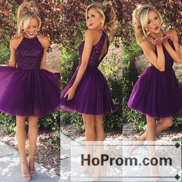 Purple Short Tulle A-Line Prom Dresses Homecoming Dresses