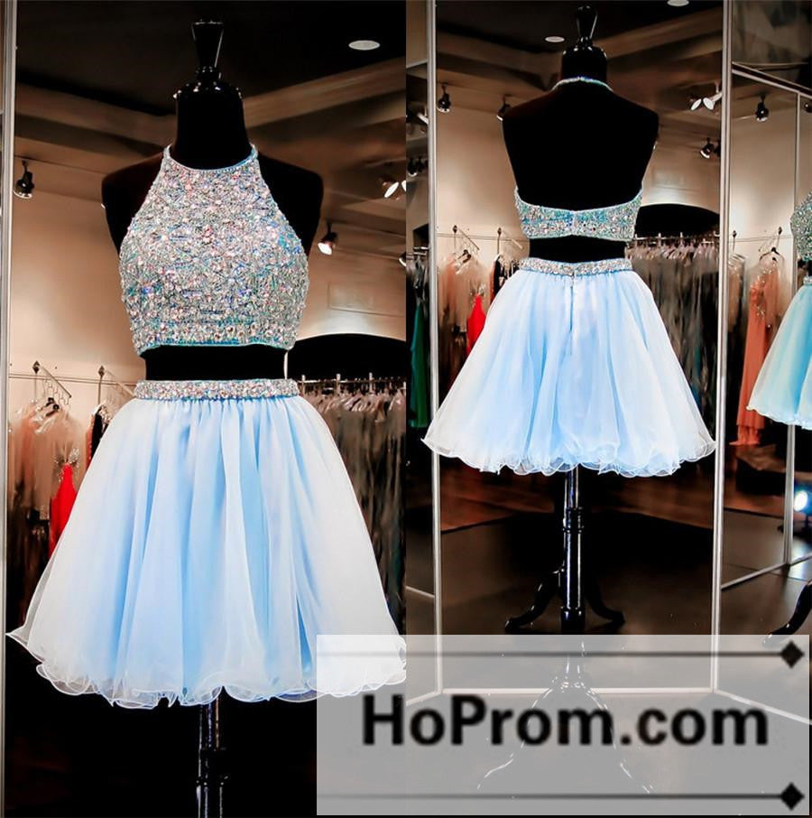 693d6bbae60 Two Piece Halter Beaded Short Prom Dresses Homecoming Dresses – Hoprom