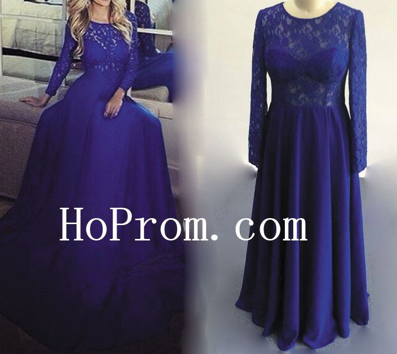 Lace Long Sleeve Prom Dresses,Blue Prom Dress,Evening Dress