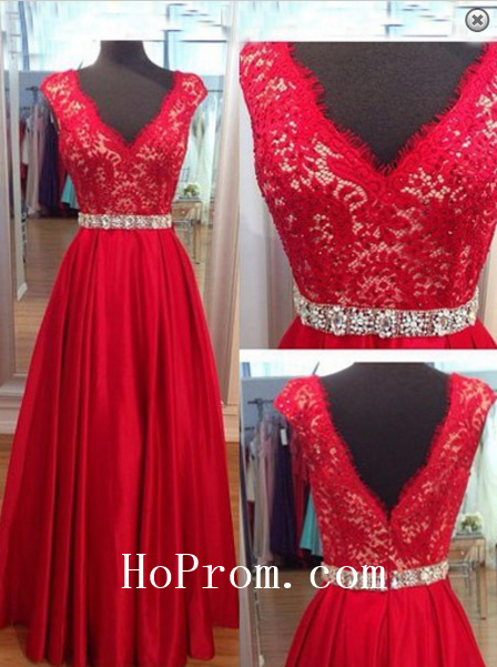 Lace Prom Dresses,Red Prom Dress,A-Line Evening Dress