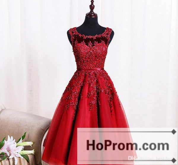 A-Line Applique Knee Length Prom Dresses Homecoming Dresses