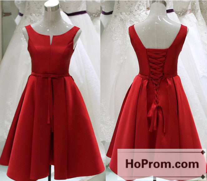 Red Satin Knee Length Prom Dresses Homecoming Dresses