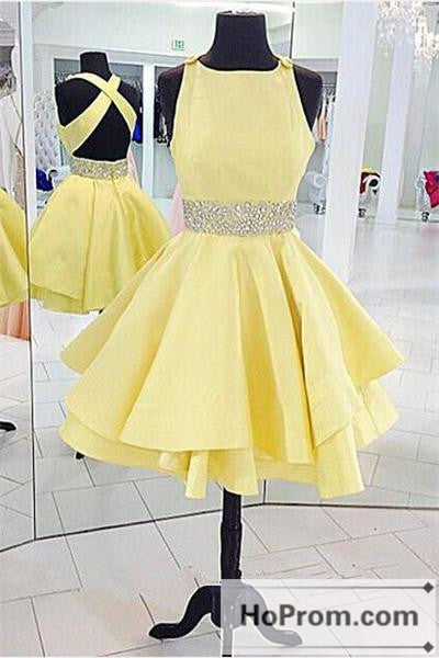 Short Yellow Cross Back Dresses Homecoming Dresses