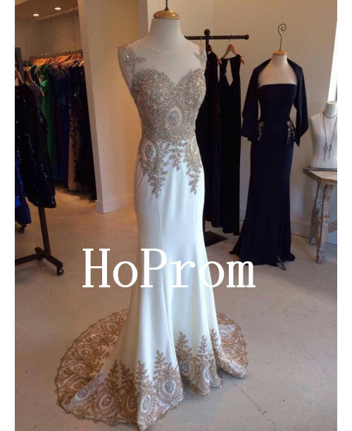 White Applique Prom Dresses,Elegant Prom Dress,Evening Dress