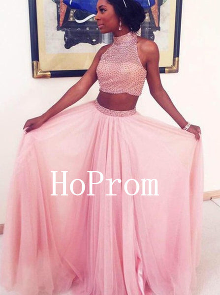 Two Piece Prom Dresses,High Neck Prom Dress,Evening Dress