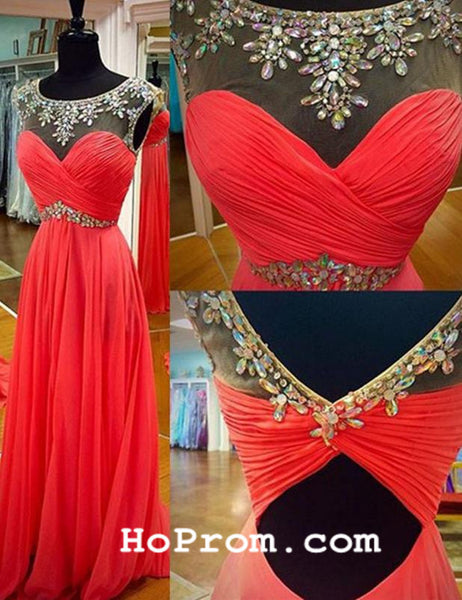 Round Neck Prom Dress Evening Dresses