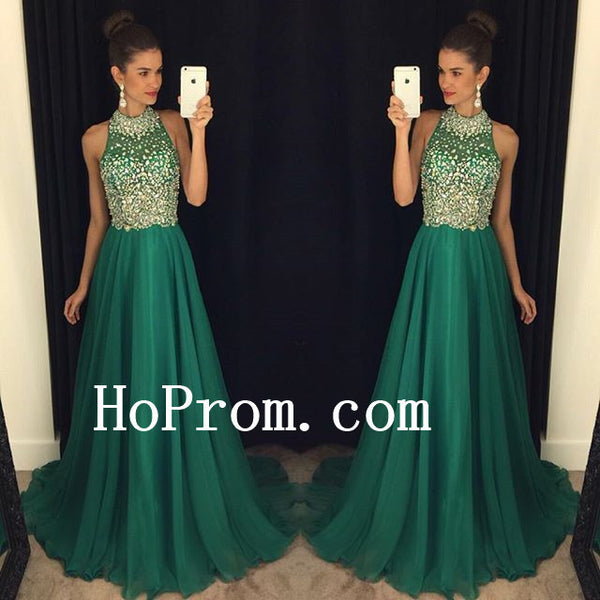 Sparkly Crystal Prom Dresses,Green Prom Dress,Evening Dress
