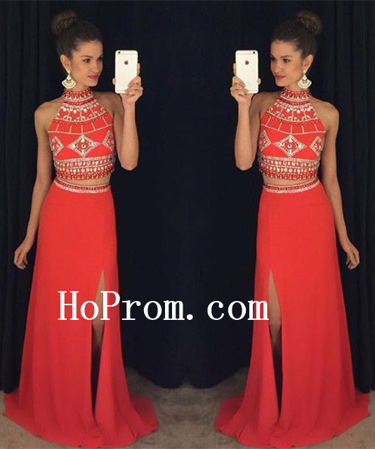 Red Prom Dresses,Halter Prom Dress,Evening Dress
